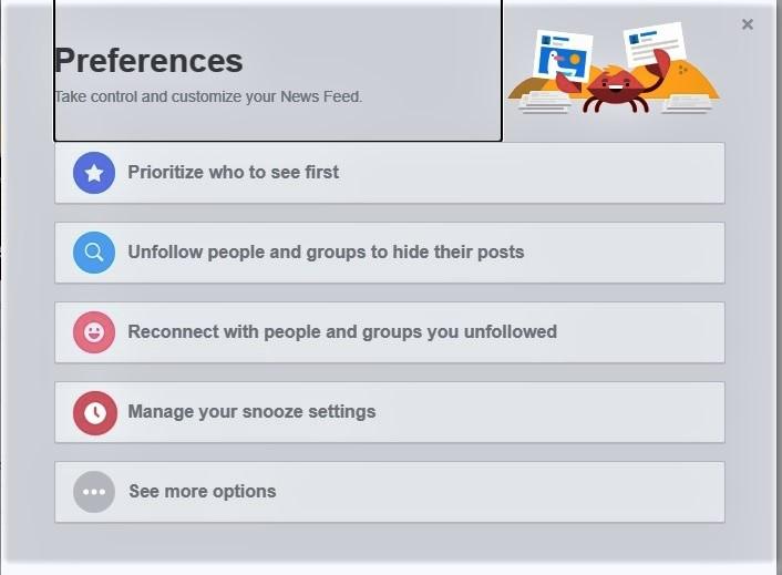 facebook choices newsfeed